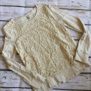 J Crew Ivory Lace Front Sweatshirt Silk Blend MED
